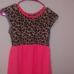 *Girls* Cheeta Print/ Neon Coral Hi-Low Dress
